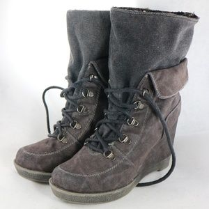 EUC Journeys Shi Glaire Gray Lace Up Ankle Boots
